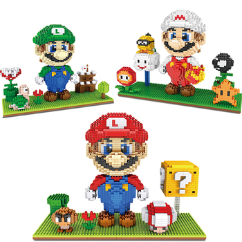 1750PCS Super Mario Bros Mini Micro Blocks Building Bricks Toys For Children Gifts Compatible Lepining Super Mario Blocks Toys balody mini blocks big size mario diy building toys large one piece bricks cute auction juguetes for kids toys 16001 16009