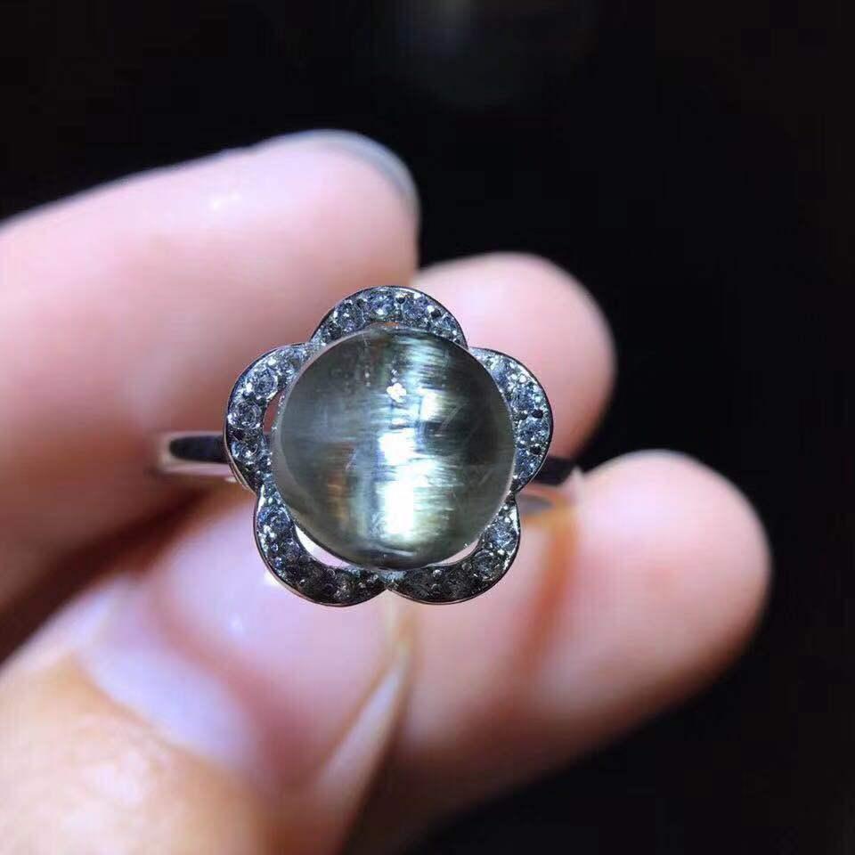 Brookite naturel platine argent rutilé Quartz réglable bague 10mm femme ovale amour cadeau 925 bague en argent Sterling AAAAA