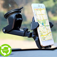 Plastic Car Phone Holder 360 Degrees Universal Smartphone Mount Car Holder Adjustable Phone Mounting Suction Cup Holder Black