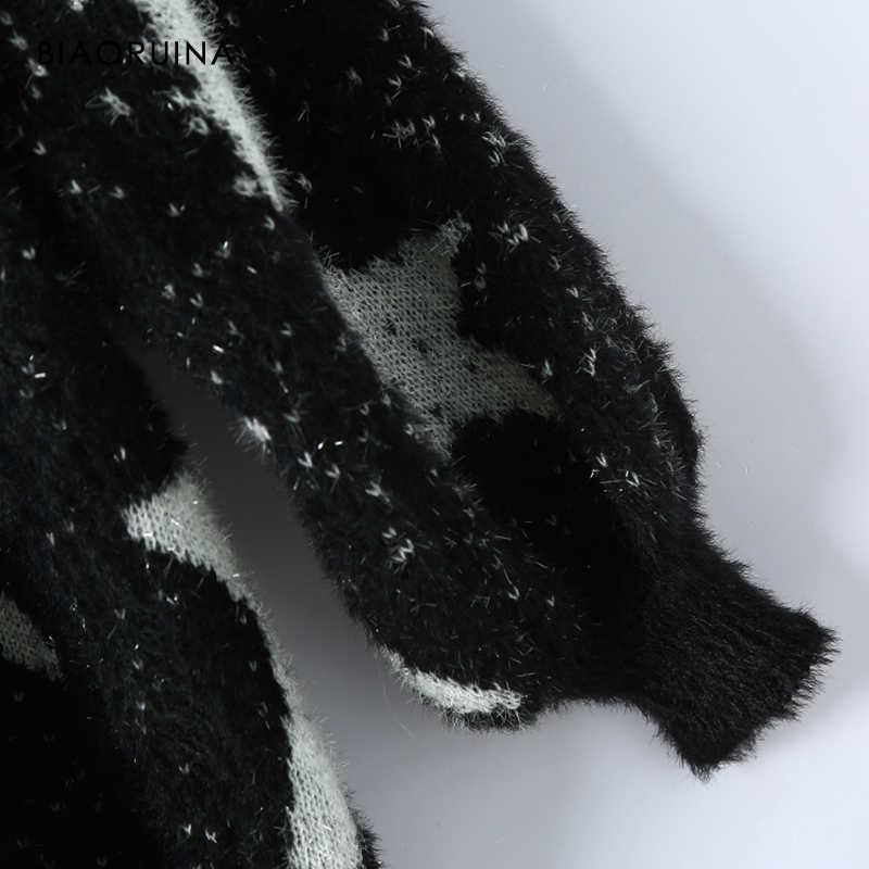 BIAORUINA delle Donne Pentagram Jacquard Patchwork Argento Filo Maglione del O-Collo di Grandi Dimensioni di Spessore Moda Tenere In Caldo Lavorato A Maglia Pullover