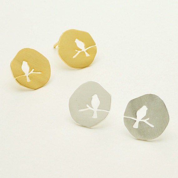 New Design Cute Mini  Gold  Silver Rose Gold Plated Hollow Animal Bird On A Branch Stud Earring for Women