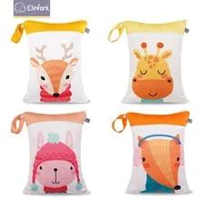 Elinfant Infant Baby Diaper Bag Nappy Changing Stroller Hanging Organizer Bag Pattern Wet Cloth Cartoon Double Zipper 30 * 40cm