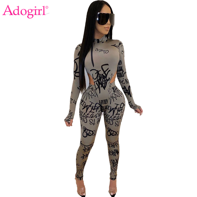 Adogirl Letters Print Women Two Piece Set Mock Neck Long Finger Sleeve Bodysuit Top Pencil Pants Fashion Tracksuit Sexy Suits