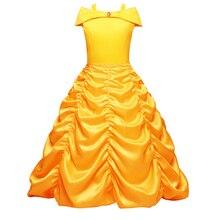 Girls Princess Dress Beauty and The Beast Long Dress Halloween Costume for Girls Kids Cosplay Off Shoulder Yellow Fancy Dress Up