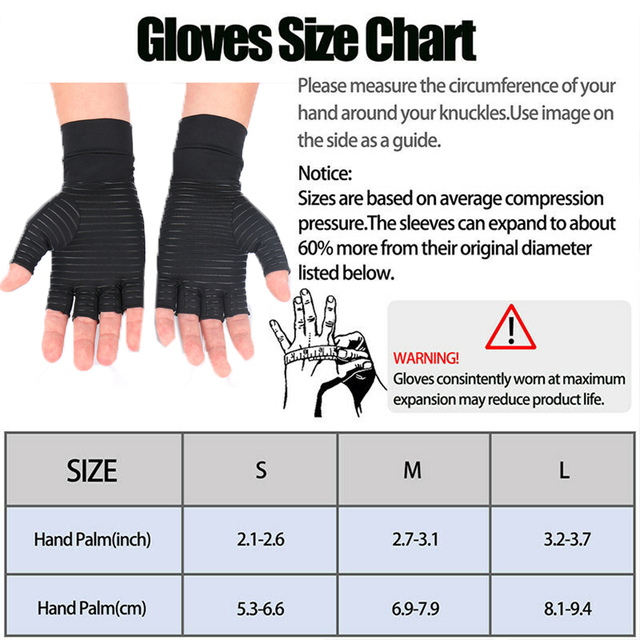 1 Pair Womens Mens fiber Therapy Compression Gloves Hand Arthritis Joint Pain Relief Half Full Finger Therapy Gloves 5