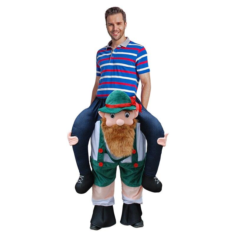 Ride On Big Beard Costume Halloween Carnival Fancy Dress Adult Carry On Men Purim Mascot Costumes For Men