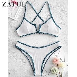 Женский купальник-бикини ZAFUL, летний комплект из 2 предметов, с v-образным вырезом, в рубчик, с текстурой, сексуальный