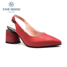 Vair mudo mulher bombas sapatos moda elegante saltos grossos couro genuíno vermelho branco estilintes fivela festa clássicos sapatos D89-C