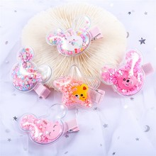 10Pcs/Lot Cute Jelly Bows for Girls Sequins Transparent Hair Cartoon Hairgrips Mini Clips Fashion Accessories