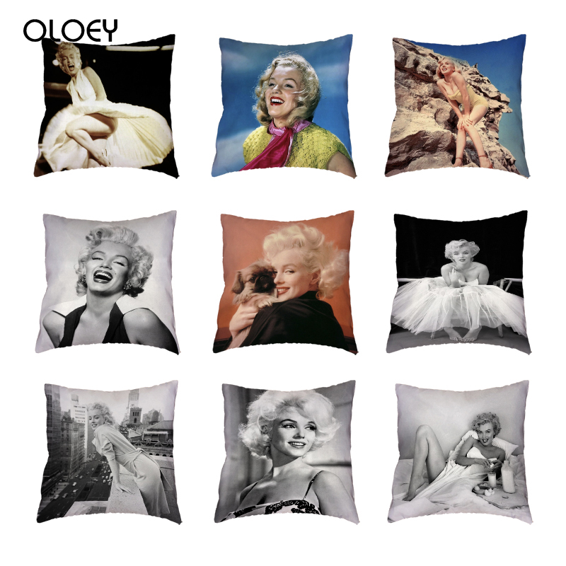 Beautiful Marilyn Monroe White Cushion Cover Naughty Pugs City Building Polyester Peach Skin Print Home Decor Throw Pillow Case.