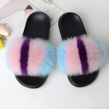 Women Slippers Home Furry Slides House Fluffy Flip Flops Woman Summer Women Shoes Real Fur Female Footwear Rubber 2019 Fashion(China)