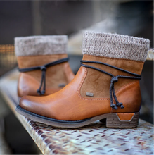Женские ботинки на платформе Теплые ботильоны с круглым носком