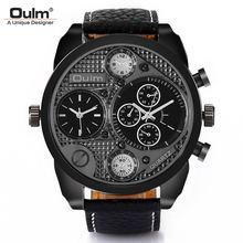 Oulm Мужские часы с большим циферблатом двумя часовыми поясами
