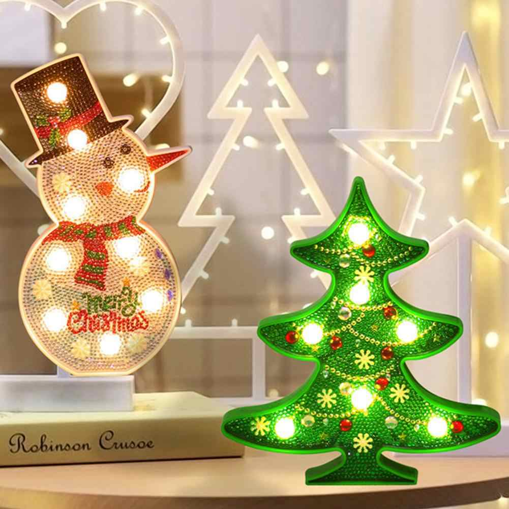DIY Christmas Decoration Diamond Painting with LED Night Light Christmas Tree Snowman Daimond Painting DIY Craft Stitch Set