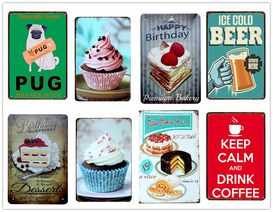 Cake Dessert Pie Ice Cream/Warning Tin Sign Vintage Metal Signs Retro Bakery Kitchen Wall Art Painting Home Decor Iron Poster