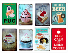 Cake Dessert Pie Ice Cream/Warning Tin Sign Vintage Metal Signs Retro Bakery Kitchen Wall Art Painting Home Decor Iron Poster(China)