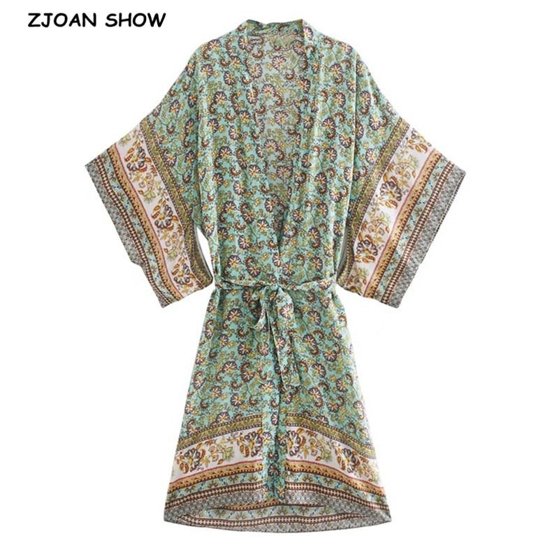 2020 BOHO Location Floral Print Long Kimono Shirt Green Hippie Women Tie Bow Sashes Long Cardigan Loose Blouse Tops Holiday
