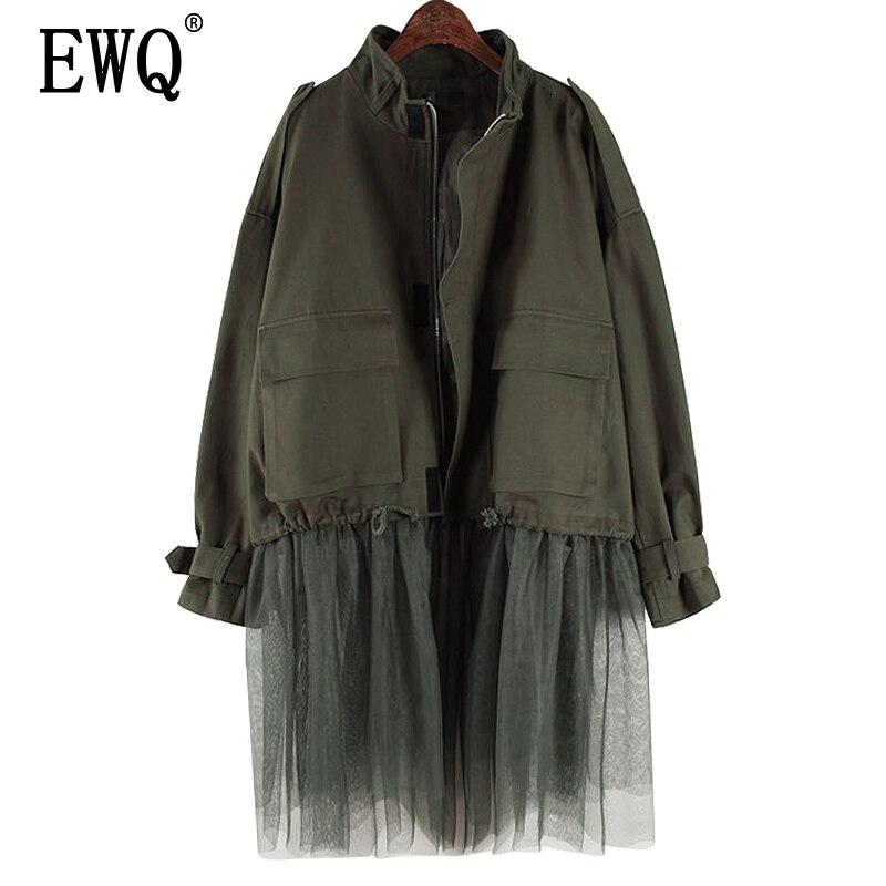 [EWQ] 2019 printemps automne haute qualité col montant à manches longues Mech Patchwork Vintage veste femmes manteau femmes AH34601