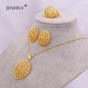 Ethiopia 24K gold jewelry sets for women African wedding gifts bridal Party Necklace Earrings ring Oval Pendant jewellery set