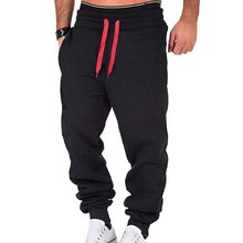 Pants Running-Trousers Drawstring Men Gym Fitness Loose Outdoor Long Solid-Color Casual