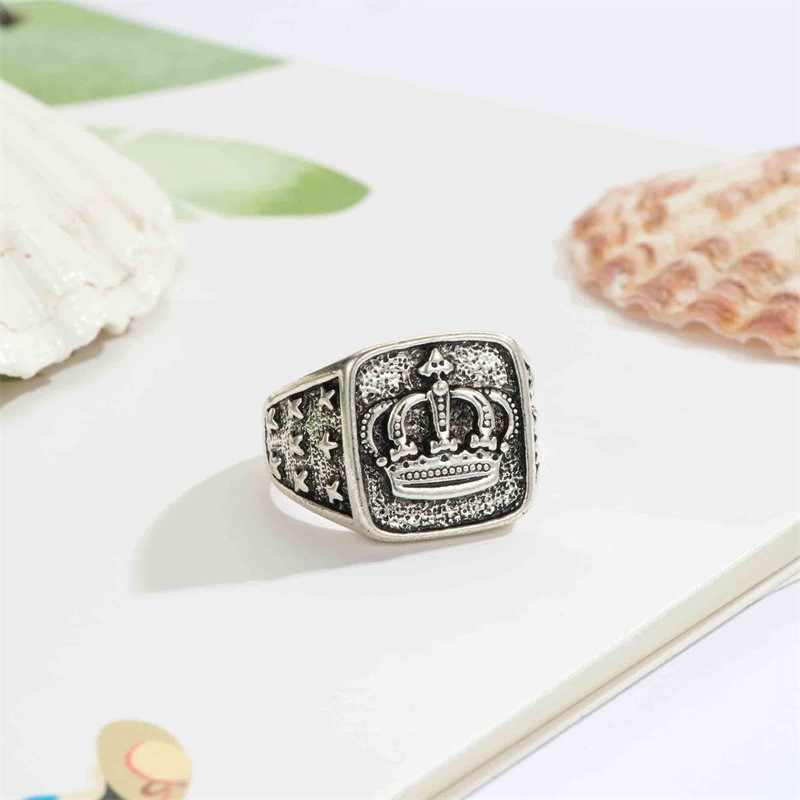 Винтаж стимпанк Корона Кольца для мужчин и женщин серебряное круглое кольцо Hombre кольцо для большого пальца ювелирные изделия аксессуары