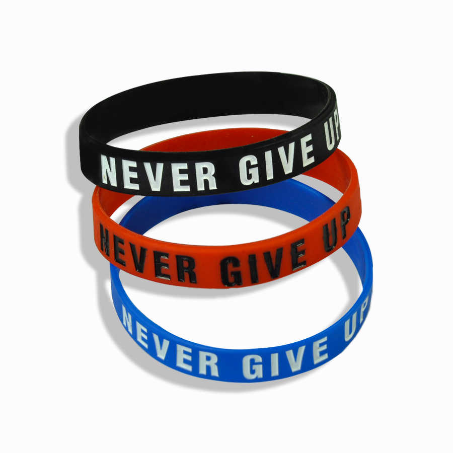 """De Weg Naar Dreams"" ""Never Give Up"" Inspirerend Inspirational Silicone Rubber Armband Elastische Band Armband Gift"