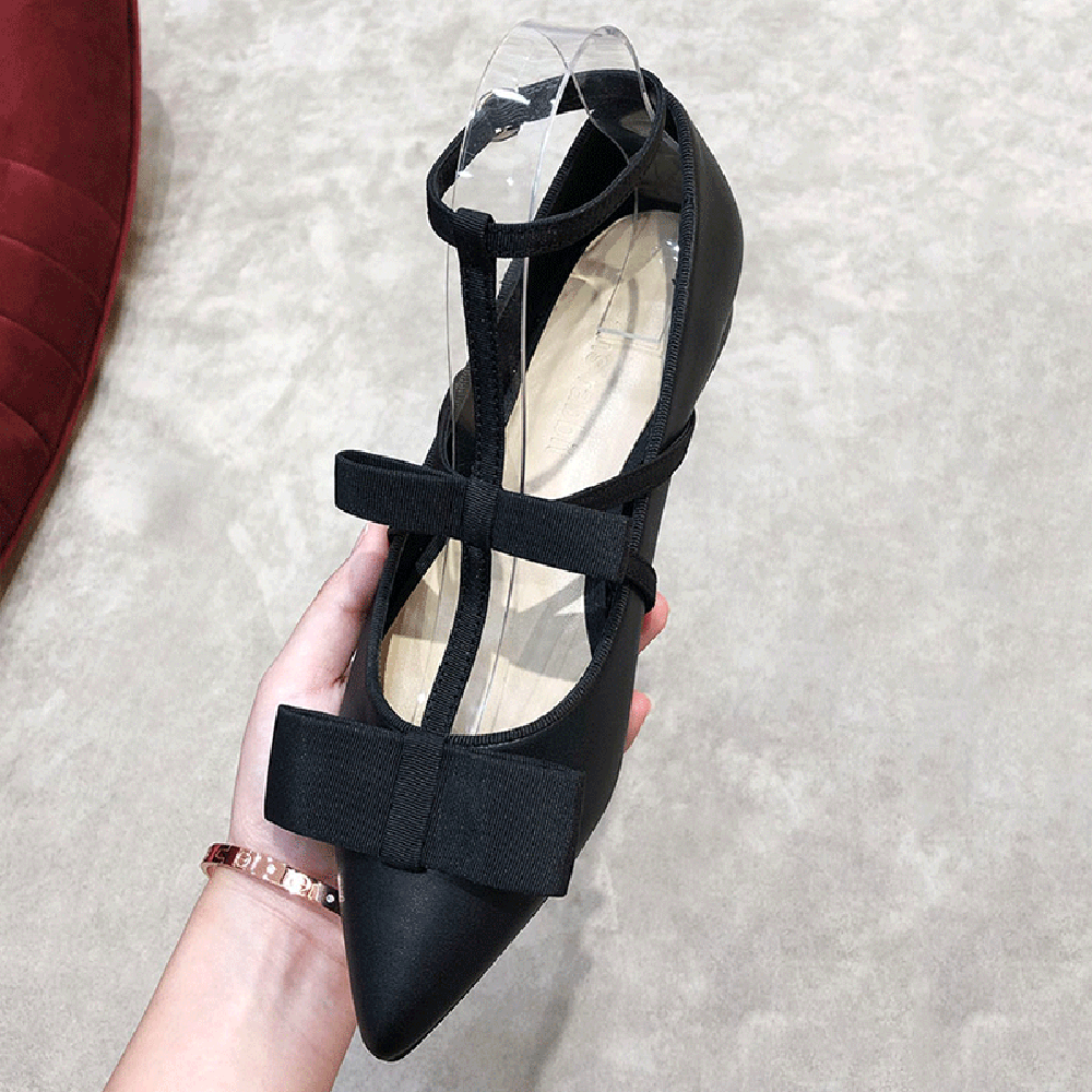 LOVIRS Women Closed and Pointed Toe Shallow Bowtie Flats Buckle Ankle Strap T-strap Dress Party Casual Shoes Big Size US 5-15