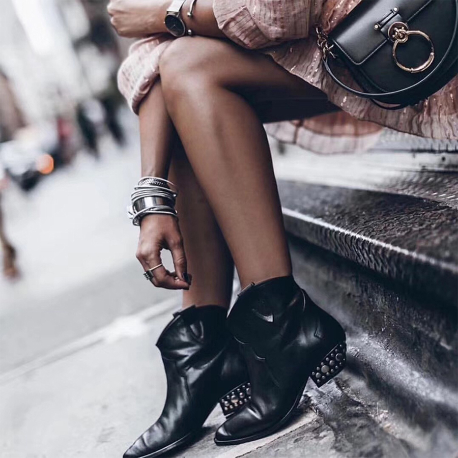 Real photos Black Women Ankle Boots Low Heels Shoes Punk Rivets Short Boots Autumn Winter Women Footwear Real Leather Shoes
