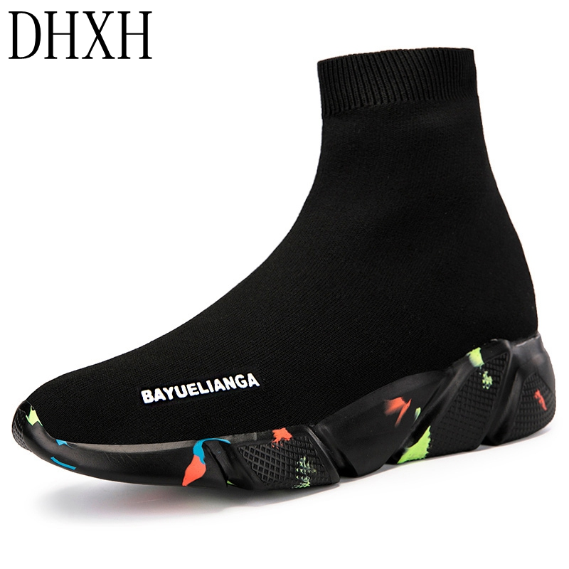 DHXH Spring And Autumn Winter Socks Shoes Couple High-top Single Shoes Trend Student Men And Women Shoes Casual Lazy Shoes 2020