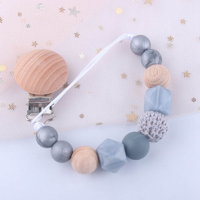 Baby Pacifier Clip Chain Wooden Holder Soother Pacifier Clips Silicone Beads Nipple Anti-Drop Holder Infant Shower Gift