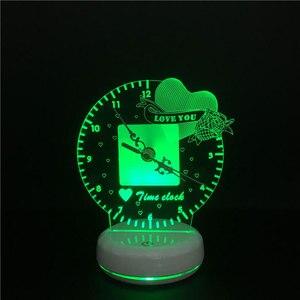 Image 3 - 3D led Nacht Licht Zeit Uhr Lampe Romantische Herz Liebe Sie Magie Obst USB Power Touch Schalter Bunte Fernbedienung Tisch lampe