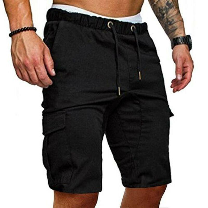Stylish Men Cargo Work Shorts  Military Style Straight Work Pocket Elasticated Summer Casual Combat Trousers Vintage Shorts Man