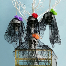 Spooky Skull Halloween Hanging Ghost Decoration Lace Pirates Corpse Haunted House Props Party Supplies for Garden Yard