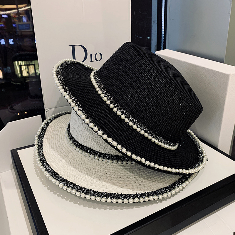 Fashion Top Hat Summer Sun Hat Pearl Straw Hats Women's Seaside Sun Cap Outdoor Sun Caps