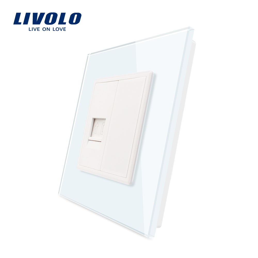 Livolo UK Standard New Style White Crystal Glass Panel, 1 Gang Home Wall Sound TV Computer Acoustics Socket ,satv Telephone Plug