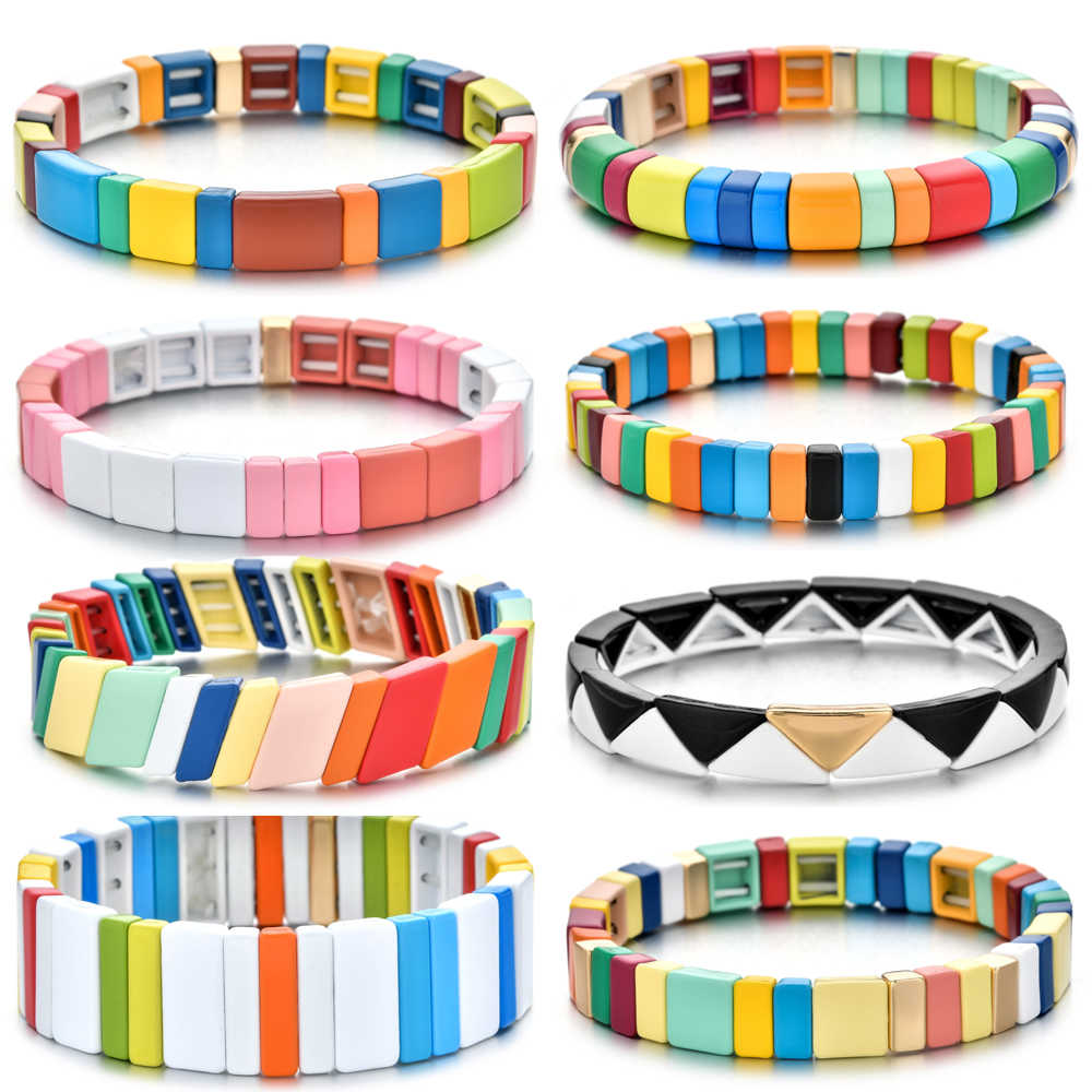 Bohemian Bracelet Handmade Friendship Braided Stackable Enamel Rainbow Tile Bracelet Fashion Street Photography Bangles Dropship