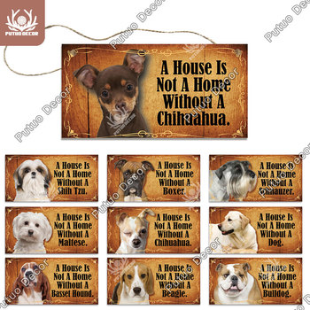 Putuo Decor Dog Tag Plaque Wood Friendship Wooden Pendant Hanging Sign for House Decoration Kennel - discount item  40% OFF Home Decor