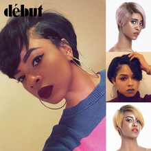 Wigs Human-Hair-Wigs Short Pixie-Cut Straight Women Cheap Brazilian Debut Black for 99J