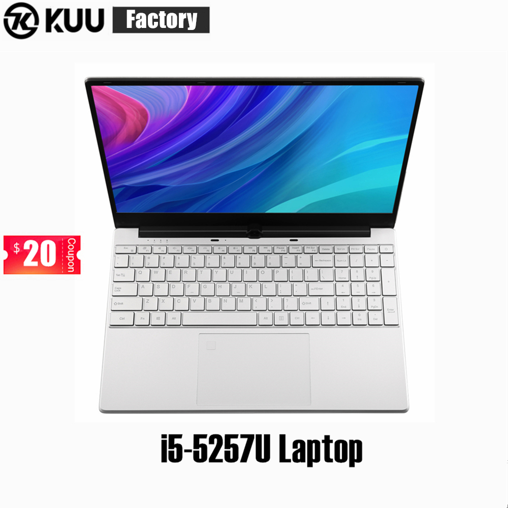 KUU 15.6Inch For Intel I5-5257U 3.10GHz Gaming Laptop 512GB SSD FHD Screen Keyboard Backlight Fingerprint Unlock Notebook