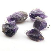 Pendentifs en pierre naturelle, accessoire délicat, cristal violet, irrégulier, pour la fabrication de colliers ou de bijoux