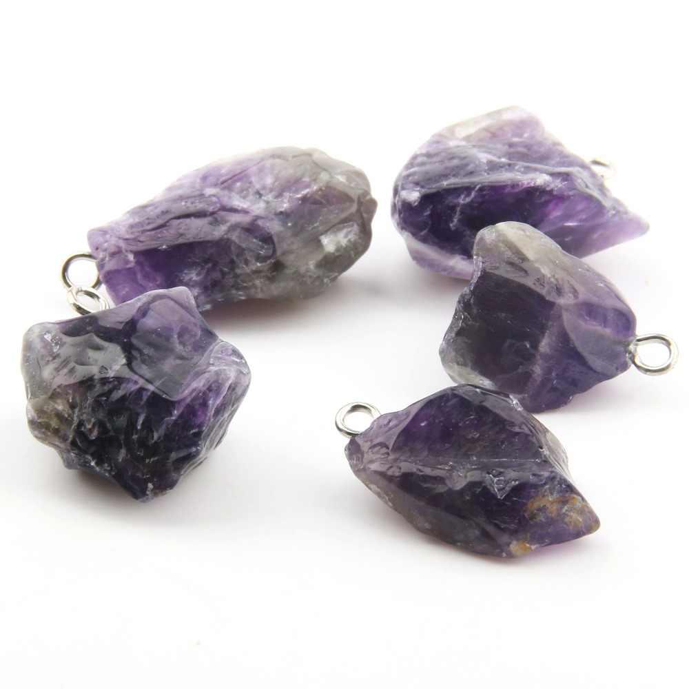 Pietra naturale Pendenti con gemme e perle Dei Monili Delicato Accessorio di Cristallo Viola Del Pendente Irregolare FAI DA TE per la Collana o Monili Che Fanno