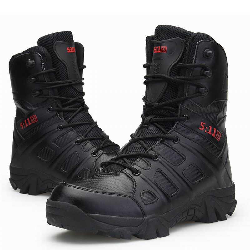 Мужские тактические военные ботинки зимние кожаные водонепроницаемые армейские рабочие ботинки для пустыни мужские Ботильоны мужской большой размер