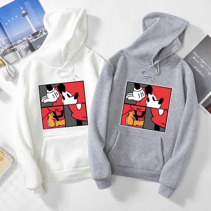 S6342 Mickey Herfst Winter Hooded Sweaters Vrouwen Kawaii Losse Casual Streetwear Lange Mouwen Warm Bovenkleding Sweatshirt