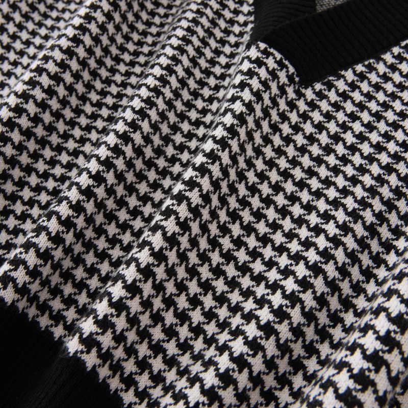 2019 Cổ Chữ V Cashmere Áo Vest nữ Dáng Rộng Áo Len Khâu Kẻ Sọc Áo Ngắn Thời Trang Đan Áo Thu Đông Cashmere Áo Vest