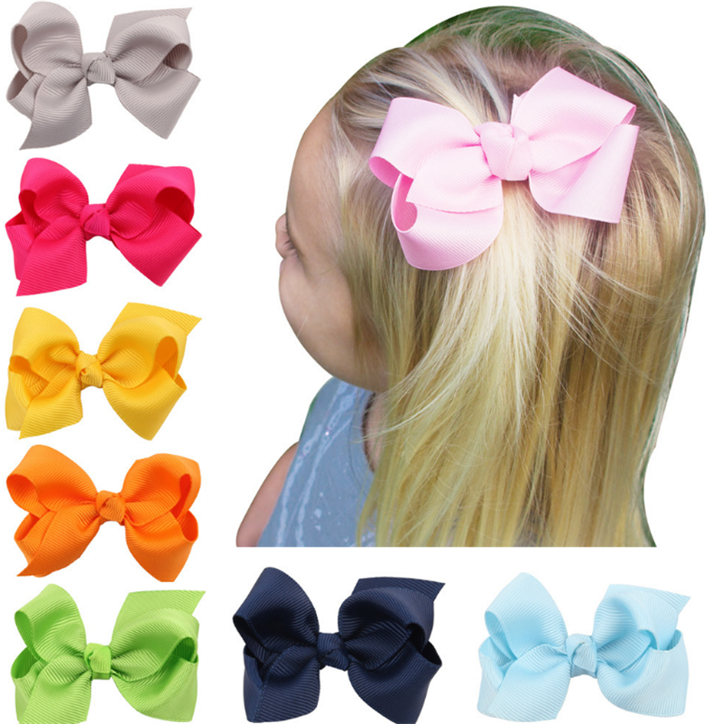 1piece Beauty Colorful 4CM Grosgrain Ribbon Hair Bows Accessories With Clip Boutique Bow Hairpins Hair Ornaments