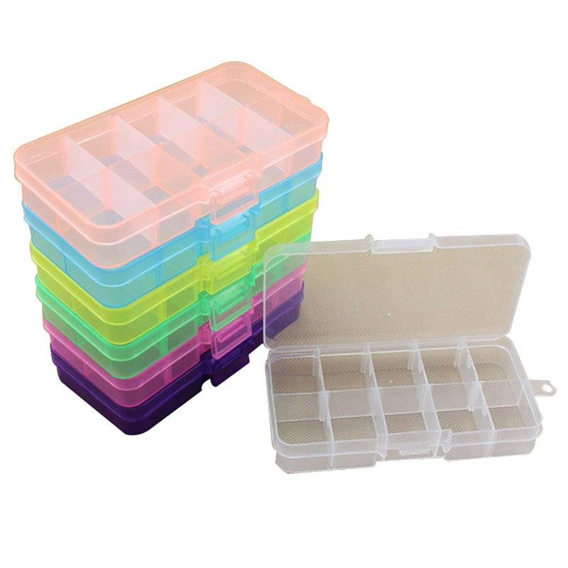 10 Slots Plastic Adjustable Jewelry Storage Box Case Craft Organizer Beads Boxes
