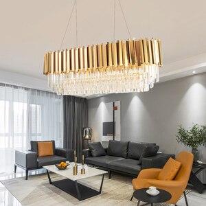 Image 3 - Manggic現代クリスタルランプシャンデリアリビングオーバル高級ゴールドラウンドステンレス鋼線シャンデリア照明