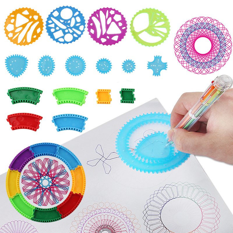 Funny Multi-functional Flexible Fantasy Spirograph Package Children Fine Art Creative Painted Flowers Curve Template Tool