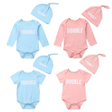 Cute Newborn Twins Baby Boys Girls Clothes Pink Blue Bodysuit Playsuit Hat Matching Family Outfits Clothing