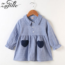 long sleeve baby girl blouse dress shirts for girls baby girl clothes kids blue stripe long shirt for little children toddler ZAFILLE 2020 New Baby Girl Shirt Dress Strip Baby Girl Clothes Long Sleeve Toddler Summer Dress Cotton Girls Dress Kids Clothes